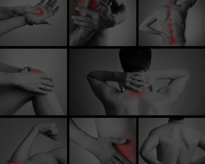 Pain in a man's body on dark grey background. Collage of several photos